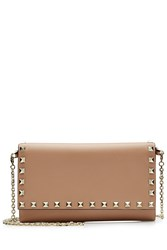 Valentino Rockstud Leather Wallet On Chain Beige