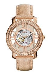 Fossil 'Curiosity' Crystal Bezel Skeleton Watch 38Mm Bone Rose Gold