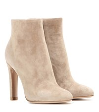 Gianvito Rossi Dana High Bootie Suede Ankle Boots Beige
