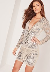 Missguided Premium Embellished Long Sleeve Plunge Bodycon Dress Nude Beige