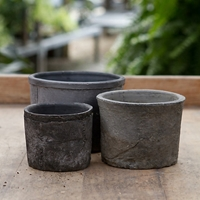 Earth Fired Clay Low Sill Pot Slate