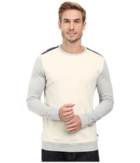 Nautica Long Sleeve Colorblocked Crew Bone White Men's Long Sleeve Pullover