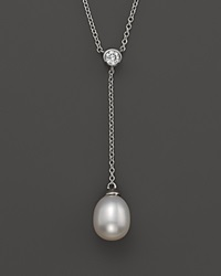 Bloomingdale's Cultured Freshwater Pearl And Diamond Y Necklace In 14K White Gold 17