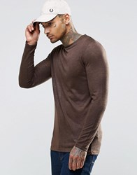 Asos Linen Look Longline Muscle Long Sleeve T Shirt Brown