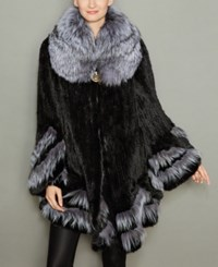 The Fur Vault Fox Trim Knitted Mink Coat Black Silver