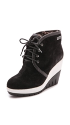United Nude Lucy Faux Fur Lined Suede Booties Black White