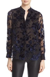 Alice Olivia Women's 'Belle' Oversize Embroidered Chiffon Tunic Navy Black