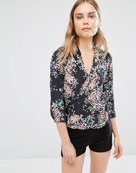 Sisley Graphic Print Split Front Blouse 901 Black
