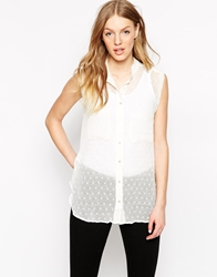Mango Textured Sleeveless Shirt Offwhite