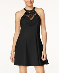 Material Girl Juniors' Lace Halter Fit And Flare Dress Only At Macy's Caviar Black