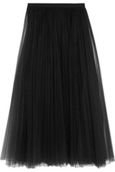 Valentino Pleated Tulle Midi Skirt Black