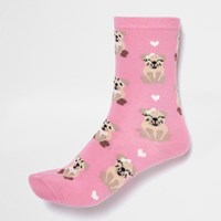 River Island Womens Pink Smiley Dog Print Ankle Socks