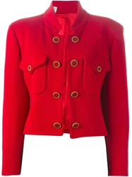 Moschino Vintage Cropped Button Jacket Red