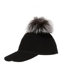Charlotte Simone Sass Single Pom Wool Felt Baseball Cap Silver Black