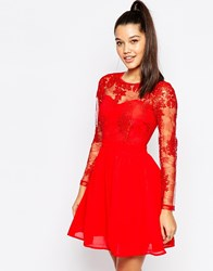 Missguided Lace Sleeve Prom Dress Red