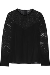 Just Cavalli Velvet Paneled Corded Lace And Chiffon Top Black