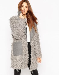 Asos Coat With Faux Fur Body And Contrast Collar Grey
