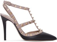 Valentino Black And Pink Rockstud Cage Heels