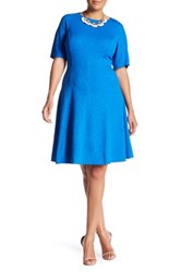 London Times Textured Short Sleeve Fit And Flare Dress Plus Size Blue