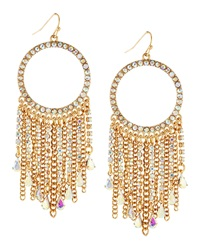 Fragments For Neiman Marcus Fragments Rhinestone Hoop Tassel Earrings Golden