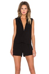 Splendid Rayon Voil Button Up Romper Black