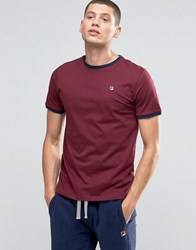 Fila Vintage Ringer T Shirt With Small Logo Burgundy Red