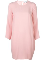 Gianluca Capannolo Longsleeved Round Neck Dress Pink And Purple