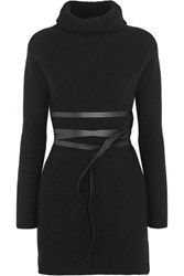 Valentino Belted Ribbed Wool And Cashmere Blend Turtleneck Mini Dress Black