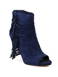 Vince Camuto Tassel Trim Peep Toe Ankle Boots Navy