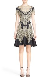 Women's Marchesa Lace Applique Crepe Fit And Flare Dress