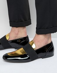 Asos Smart Loafers In Black And Gold Patent Leather Black