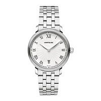 Montblanc 112636 Unisex Stainless Steel Bracelet Watch Silver White