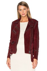 For Love And Lemons Jameson Suede Jacket Burgundy