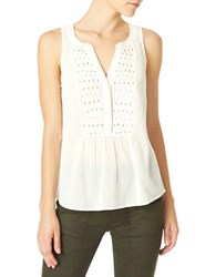 Sanctuary Muriel Craft Sleeveless Blouse Creme