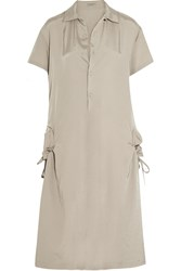 Bottega Veneta Satin Twill Shirt Dress Nude