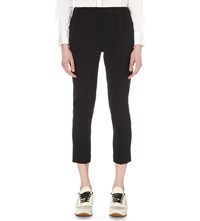 Brunello Cucinelli Slim Fit Cropped Wool Crepe Trousers Black Stone