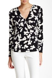 Laundry By Shelli Segal Printed Long Sleeve Matte Jersey Blouse Black
