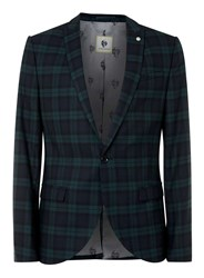 Topman Noose And Monkey Green And Blue Check Suit Jacket