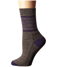 Smartwool Striped Hike Medium Crew Taupe Mountain Purple Women's Crew Cut Socks Shoes