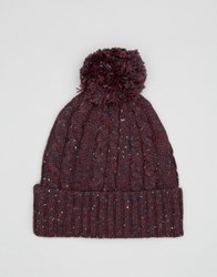 Asos Cable Bobble Beanie In Burgundy Nep Burgundy Red