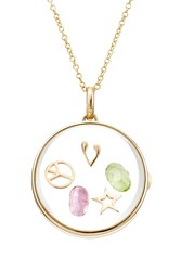 Loquet 14Kt Round Locket With 18Kt Charms Tourmaline And Citrine Multicolor