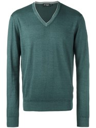 Hackett V Neck Jumper Green