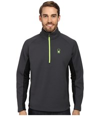 Spyder Outbound Half Zip Mid Weight Core Sweater Slate Black Bryte Green Men's Long Sleeve Pullover