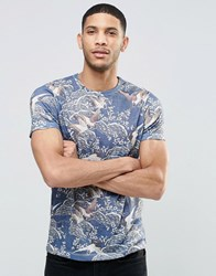 Asos T Shirt With Floral And Bird Print In Linen Look Fabric In Navy Navy