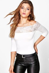 Boohoo Lace Trim 3 4 Sleeve Off The Shoulder Crop Cream