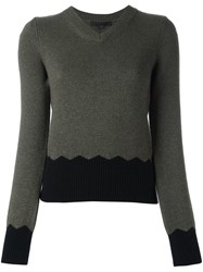 Alexander Wang V Neck Jumper Green