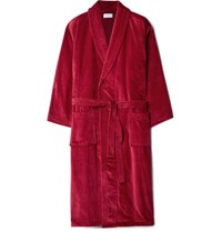 Derek Rose Roe Triton Cotton Terry Robe Red