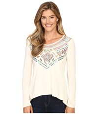 Rock And Roll Cowgirl Long Sleeve Knit 48T8219 Natural Women's Clothing Beige