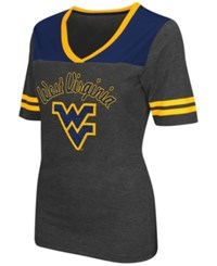 Colosseum Women's West Virginia Mountaineers Twist V Neck T Shirt Charcoal Navy