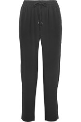 Equipment Hadley Washed Silk Tapered Pants Black